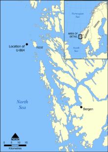 Location of U-864